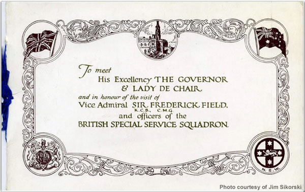Invitation to meet the Governer and Lady De Chair