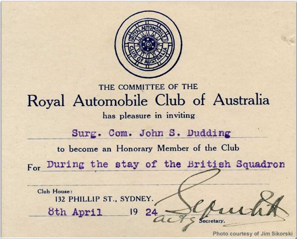 Honorary membership card to the Royal Automobile Club of Australia