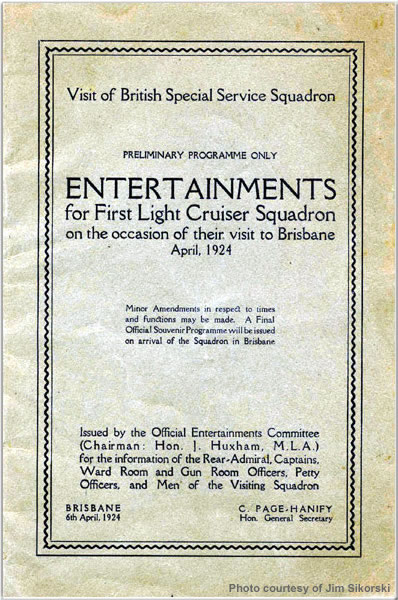 Entertainment booklet for Special Service Squadron visit to Brisbane, Australia