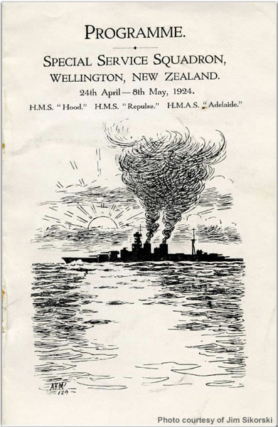 Programme for Hood's visit to Welliington, New Zealand, April 1924