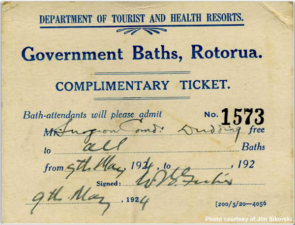 Complimentary Ticket to the Government Baths, Rotorua, Auckland, New Zealand, May 1924