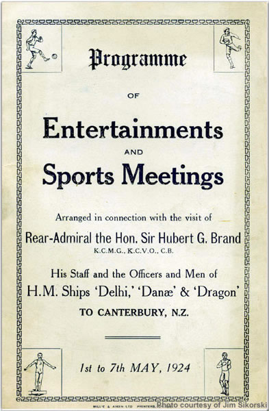 Cantebury, New Zealand Programme of Entertainment and Sports Meetings for 1st Light Cruiser Squadron, May 1924