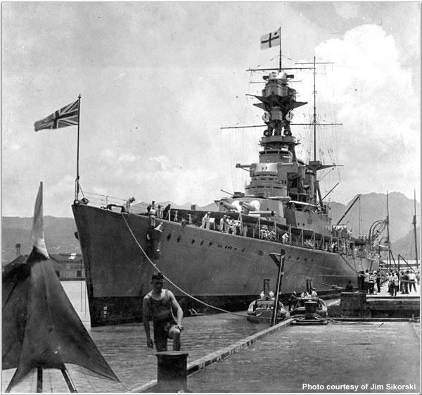 H.M.S. Hood at Pearl Harbour, Hawaii, June 1924