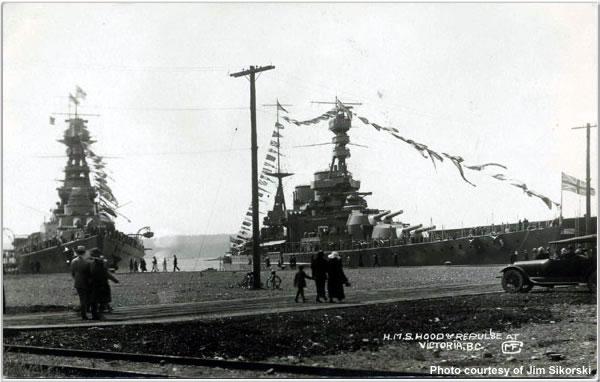 H.M.S. Hood and H.M.S. Repulse at Victoria, British Columbia, Canada, June 1924