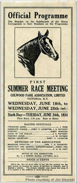 Official race programme for Victoria, British Columbia, Canada, June 1924