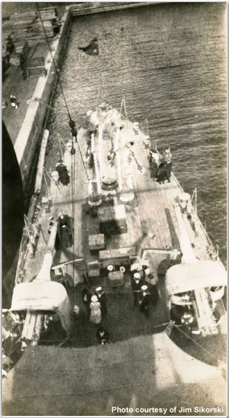 A view from atop of one of the cruisers, Victoria, British Columbia, Canada, June 1924