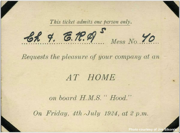 Admission ticket to board H.M.S. Hood, July 1924