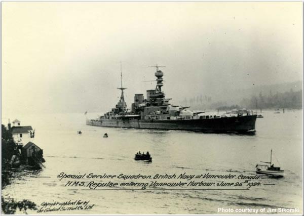 H.M.S. Repulse in Vancouver, British Columbia, Canada, June 1924