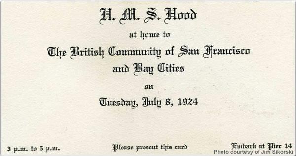 H.M.S. Hood invitation card, San Francisco, USA, July 1924