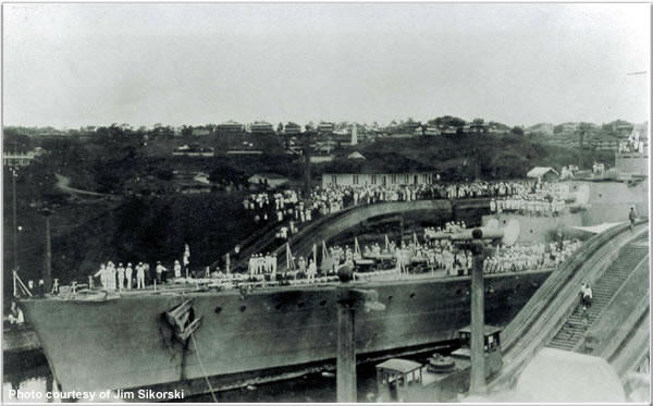 H.M.S. Hood in the Panama Canal, July 1924