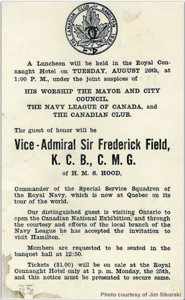 Royal Connaught Hotel Notice concerning VADM Field, August 1924