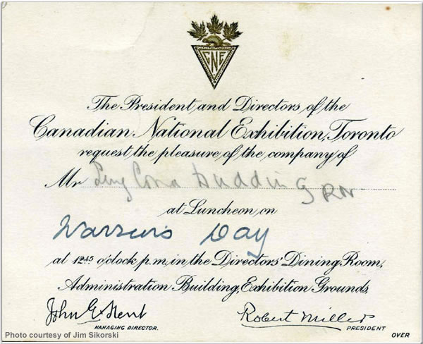 Luncheon invitation from the Canadian National Exhibition, Toronto, to Surgeon Commander Dudding, August 1924