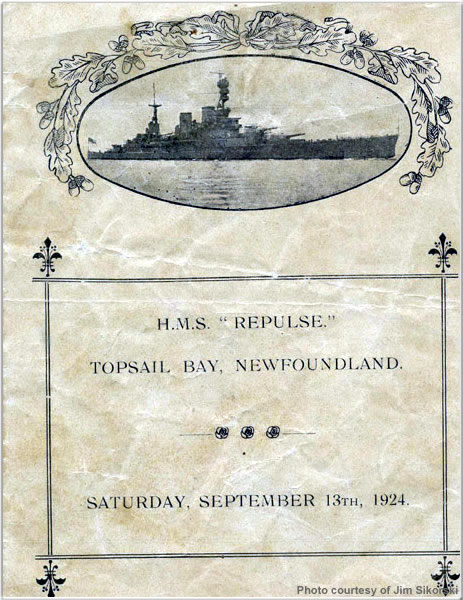 Flyer from H.M.S. Repulse's visit to Topsail Bay, Newfoundland, August 1924