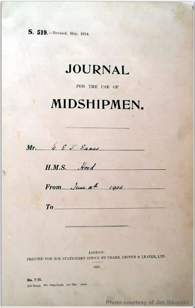 Title page of Midshipman Eames's journal