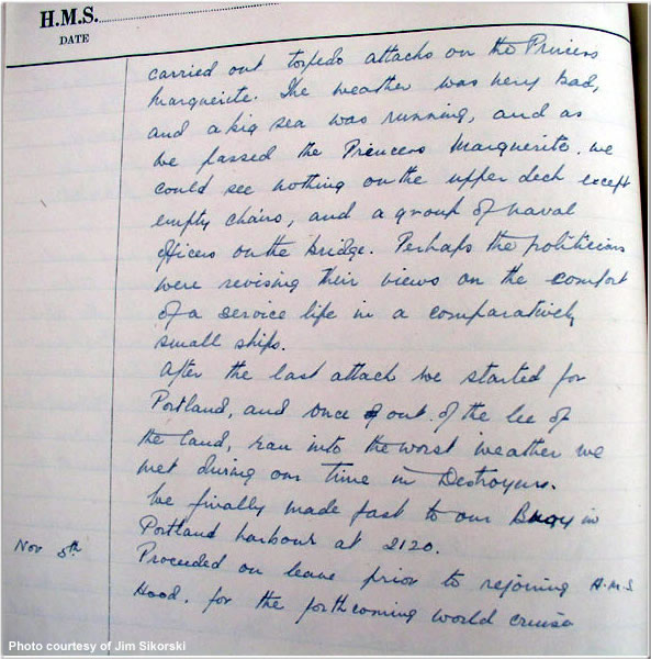 Entry from Midshipman Eames's journal