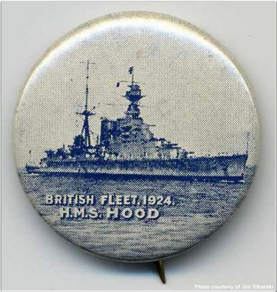 H.M.S. Hood button, summer 1924
