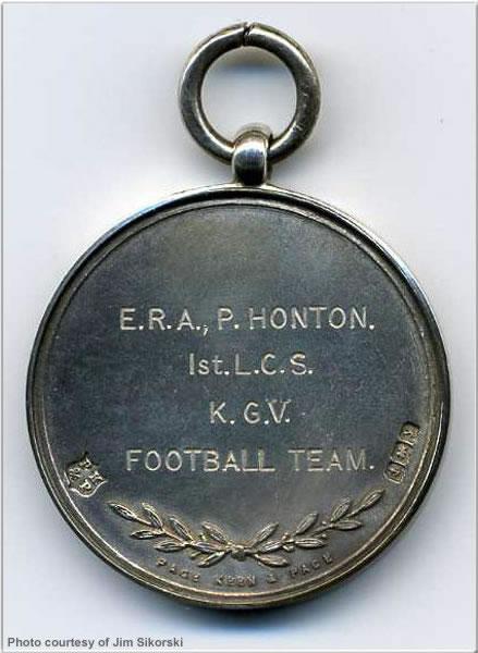 Reverse of football medal won by ERA P. Honton, 1923 or 1924