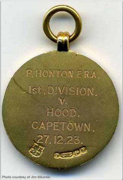 Reverse of football medal won by ERA P. Honton, 1923