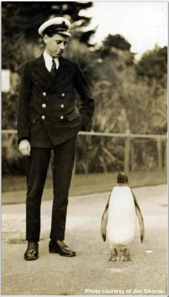 A crewman and penguin friend