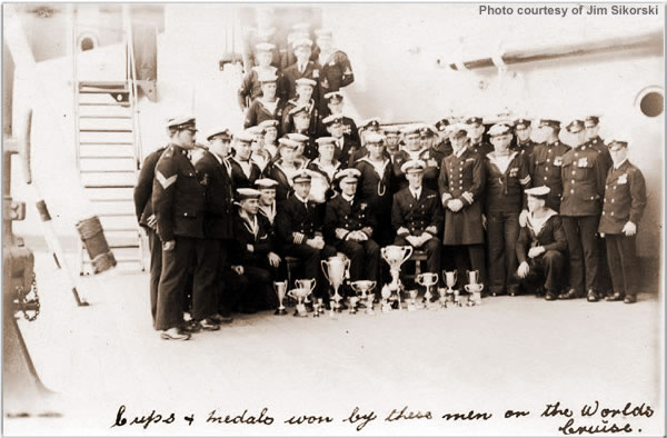 Cups and medals won by these men on the Worlds Cruise