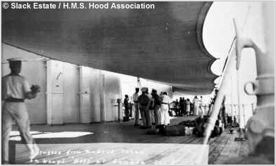 Awning shading the  port side of H.M.S. Hoods quarterdeck, circa 1937