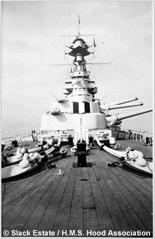 H.M.S. Hoods forward guns trained to port, circa 1937 or 1938