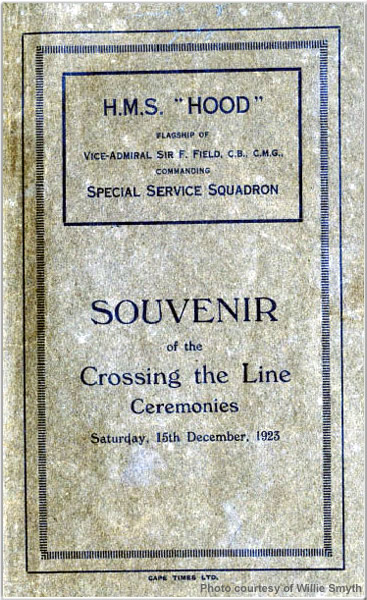Cover of souvenir booklet outlining the 15 December 1923 Crossing the Line ceremonies held aboard H.M.S. Hood