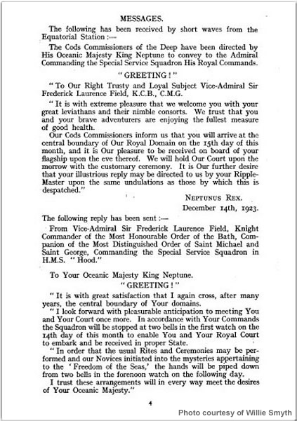 Page from a souvenir booklet outlining the 15 December 1923 Crossing the Line ceremonies held aboard H.M.S. Hood