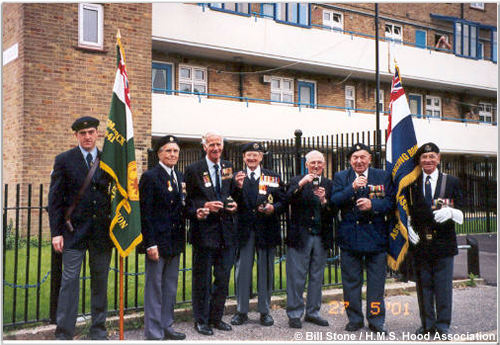 Veterans join in a toast, May 2001
