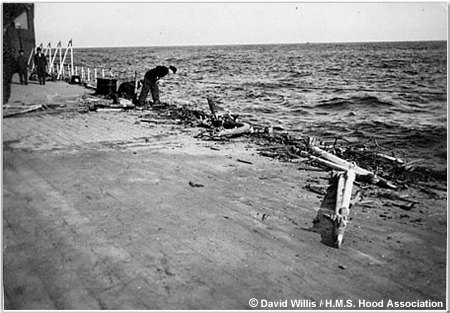 Damage to Hood's starboard quarterdeck